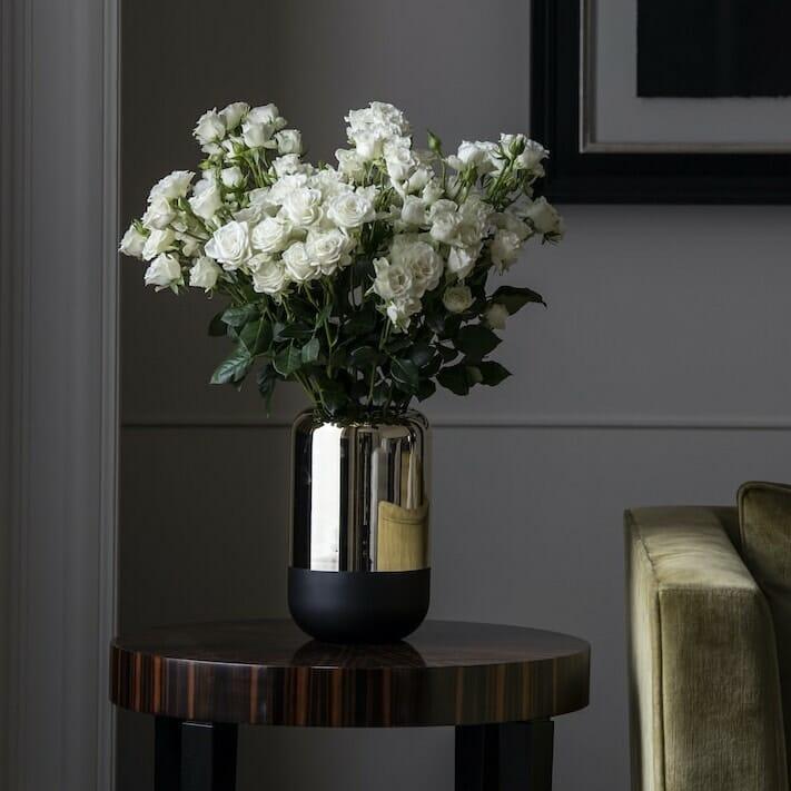 bloom - Tall Gold Mirror & Black Glass Vase