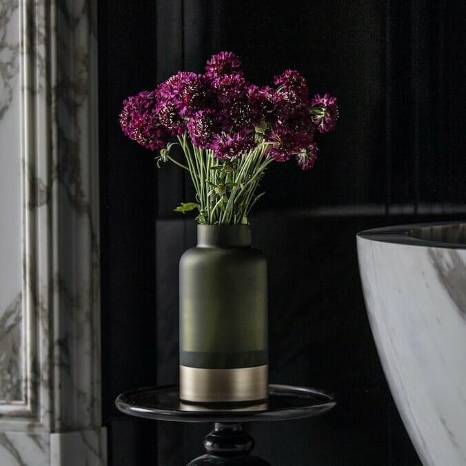 Bloom Flower Delivery | Olive Green & Brass Bottle Vase