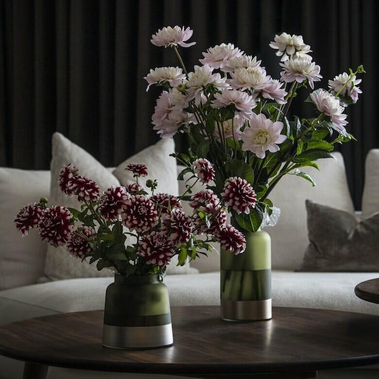 Bloom Flower Delivery | Olive Green & Brass Chimney Vase