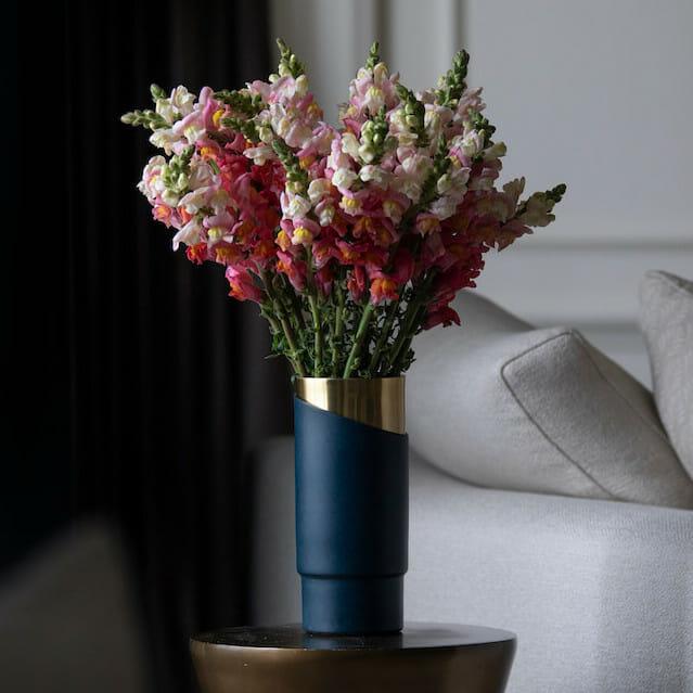bloom - Deco Blue & Brass Vase