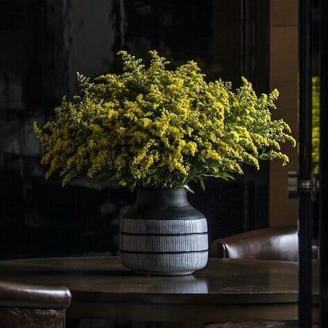 Bloom Flower Delivery | Black Glass Tribal Vase
