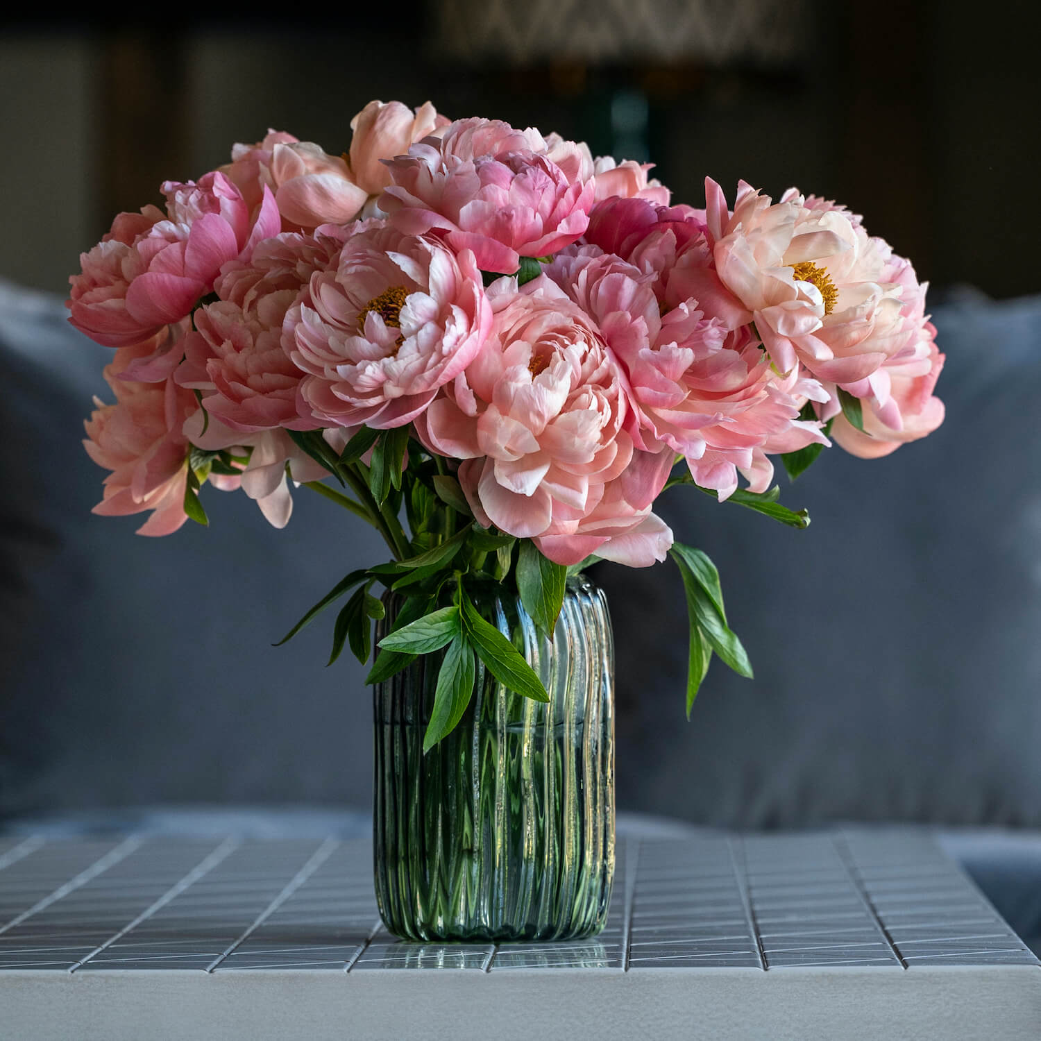 Bloom Flower Delivery | Ribbed Smoked Grey Glass Vase